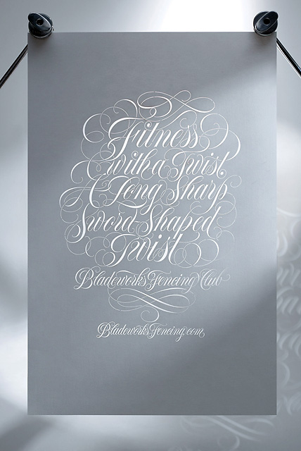 fencing club calligraphy poster